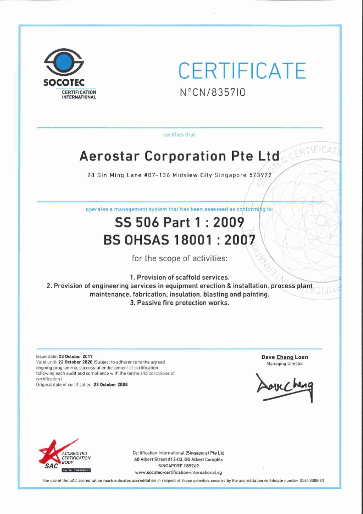 thumbnail of SS 506 PART 1 2009, BS OHSAS 18001 2009 CERTIFICATE