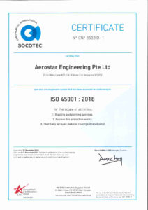 thumbnail of Aerostar Engineering – ISO 45001-2018